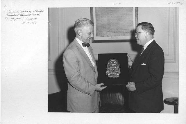 Photograph of National Exchange Club Presentation, President Harold Mott, and Dr. Wayne C. Grover