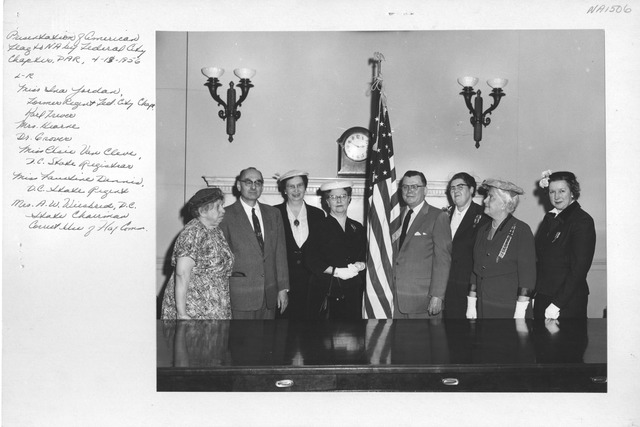 Photograph of Presentation of American Flag to the National Archives by Federal City Chapter of the Daughters of the American Revolution (DAR)