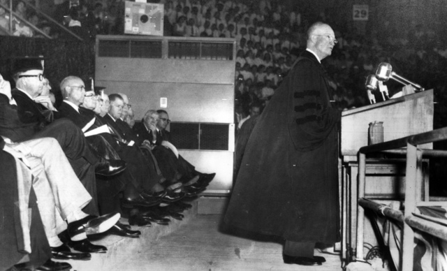 Dwight D. Eisenhower Delivers a Major Foreign Policy Address from the Rostrum in The Heart of Texas Coliseum in Waco, Texas, the Speech was Part of the Graduation Ceremony at Baylor University