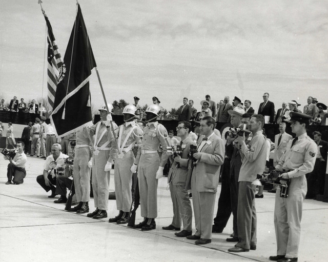Flag Bearers and Photographers at Portsmouth Air Force Base Dedication Ceremonies