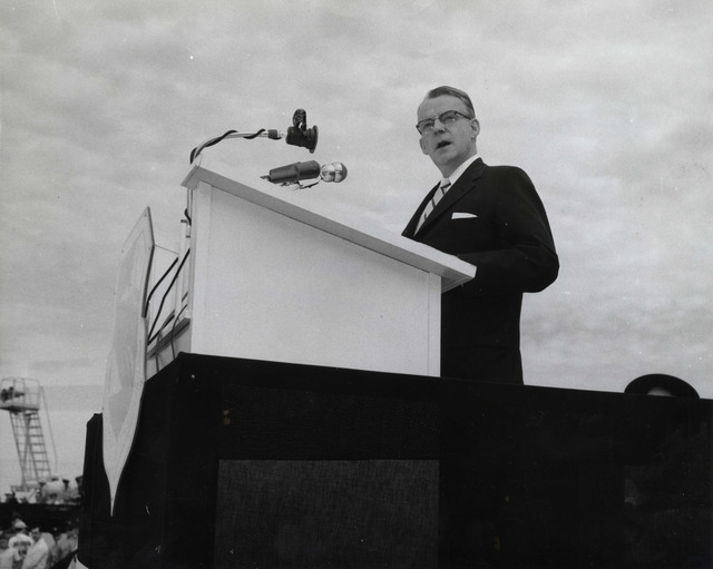 Governor Lane Dwinell of New Hampshire at Portsmouth Air Force Base Dedication Ceremonies