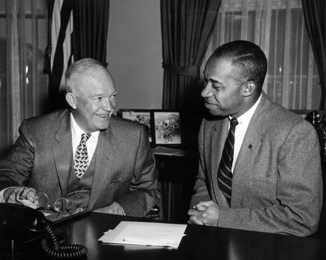 Photograph of President Dwight D. Eisenhower Meeting with E. Frederic Morrow