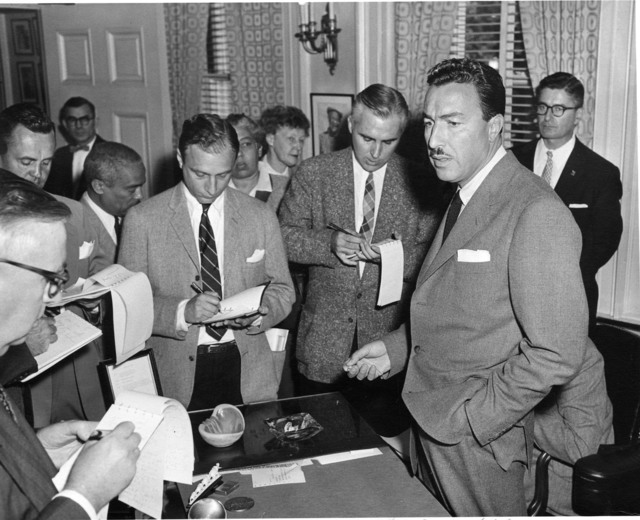 Photograph of Congressman Adam Clayton Powell during a Press Conference
