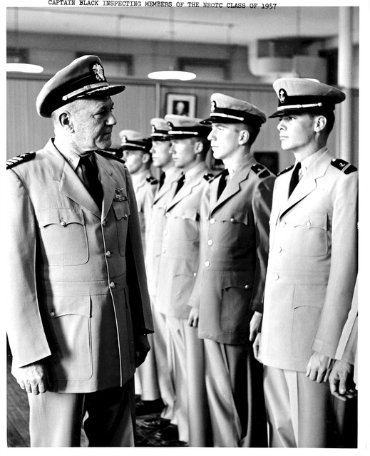 Captain Black Inspecting Members of Yale University's Naval Reserve Officers Training Corps Class of 1957