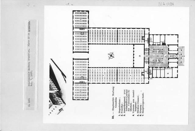Photograph of a Floor Plan of Staatsarchiv Marburg Grundriss