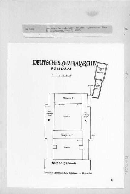 Photograph of a Floor Plan of the Deutsches Zentralarchiv, Potsdam, Grundriss