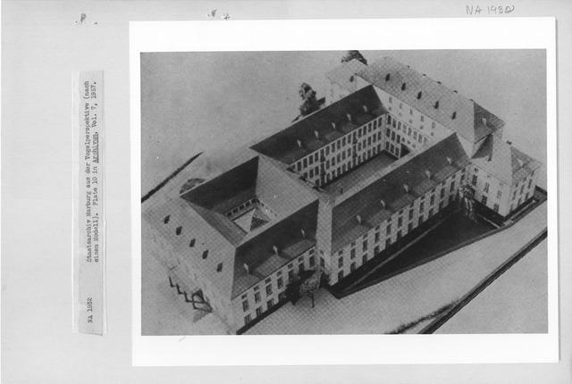 Photograph of a Model of Staatsarchiv Marburg aus der Vogelperspektiv (Nach Einem Modell)
