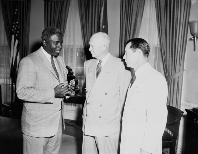 Photograph of Jackie Robinson, President Dwight D. Eisenhower, Comedian Joe E. Brown at the White House