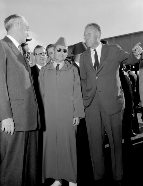 Ernest Orlando Lawrence (right) with UC President Robert Gordon Sproul and King Mohammed V, December 5, 1957. Morgue 1957-10 (P-10). [Photographer: Donald Cooksey]