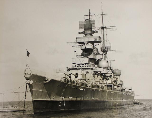 USS Prinz Eugen as part of the Crossroads Test Fleet in Bikini Lagoon