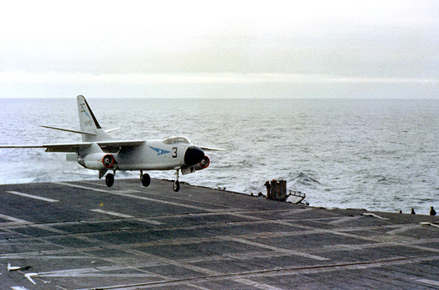 An A3D Skywarrior aircraft approaches for a landing aboard the attack aircraft carrier USS RANGER (CVA-61)