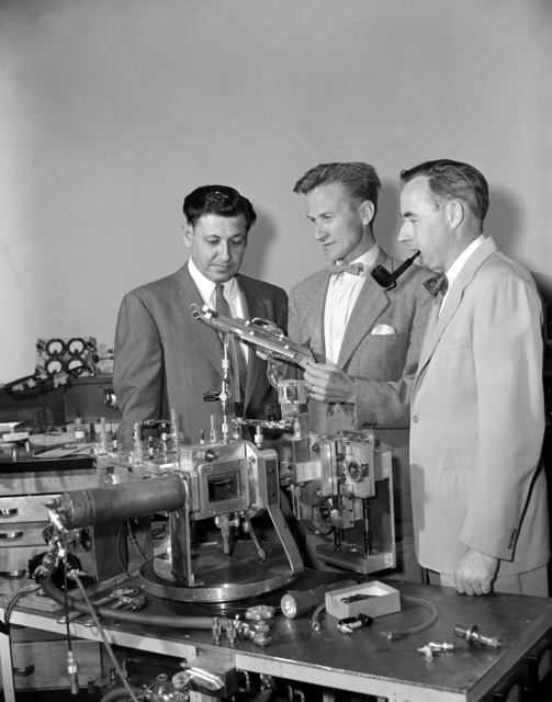 The codiscoverers of nobelium (No, element 102) in the HILAC building. From left:. Albert Ghiorso, Torbjorn Sikkeland, and John R. Walton (Glenn T. Seaborg absent) taken May 1, 1958. Morgue 1958-17 (P-1) [Photographer: Donald Cooksey]