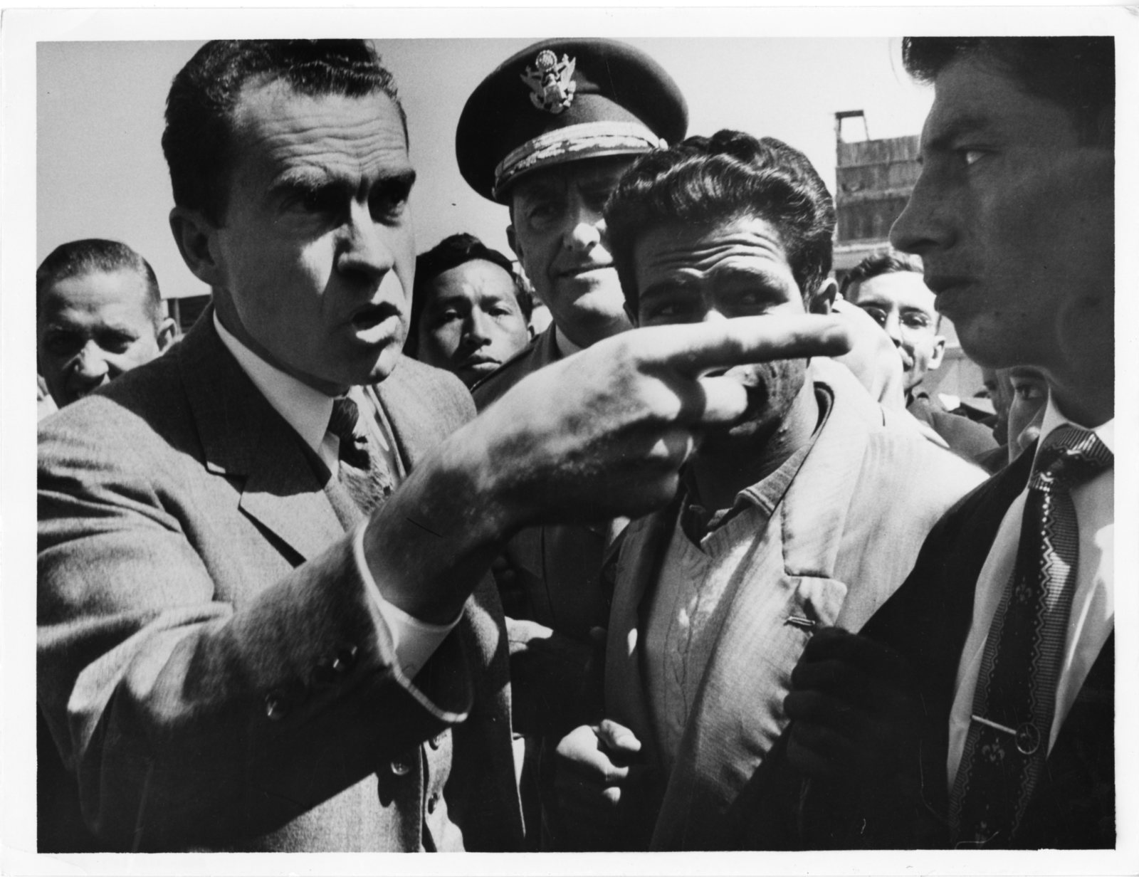 Vice President Richard Nixon argues with a student during his visit to the National University of San Marcos in Lima, Peru