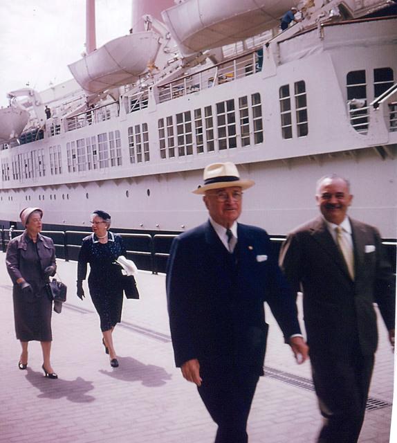 Photograph of Former President Harry S. Truman, Bess Truman, Mrs. Sam Rosenman at Naples