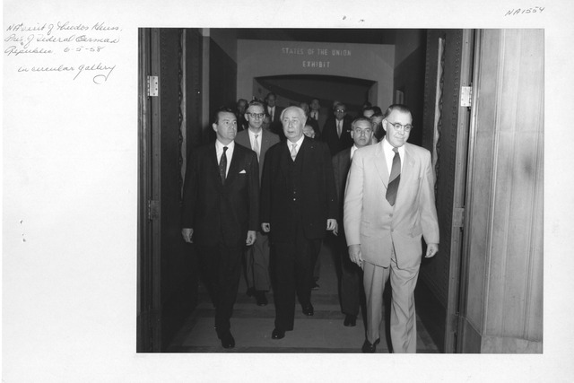 Photograph of National Archives Visit by Theodor Heuss, President of the Federal German Republic, in Circular Gallery