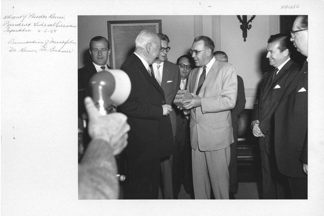 Photograph of National Archives Visit by Theodor Heuss, President of the Federal German Republic, Presentation of Microfilm