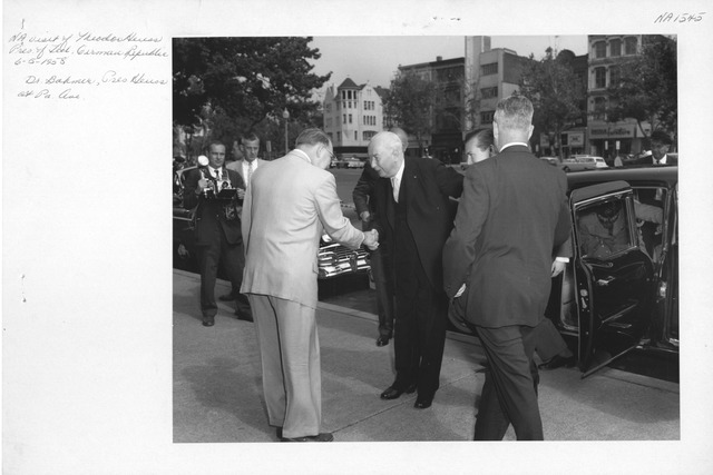 Photograph of National Archives Visit by Theodor Heuss, President of the Federal German Republic, with Robert Bahmer, Archivist of the United States