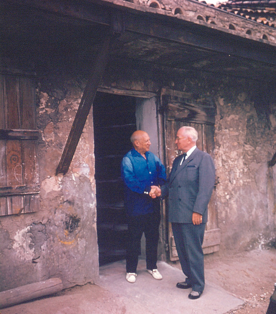 Former President Harry S. Truman and Pablo Picasso at Vallauris, France