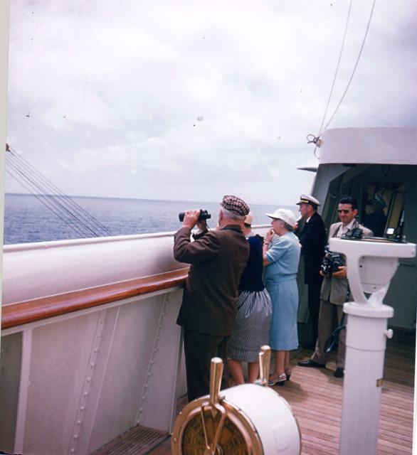Photograph of Former President Harry S. Truman, Bess Truman, and Mrs. Samuel Rosenman near the Azores Islands