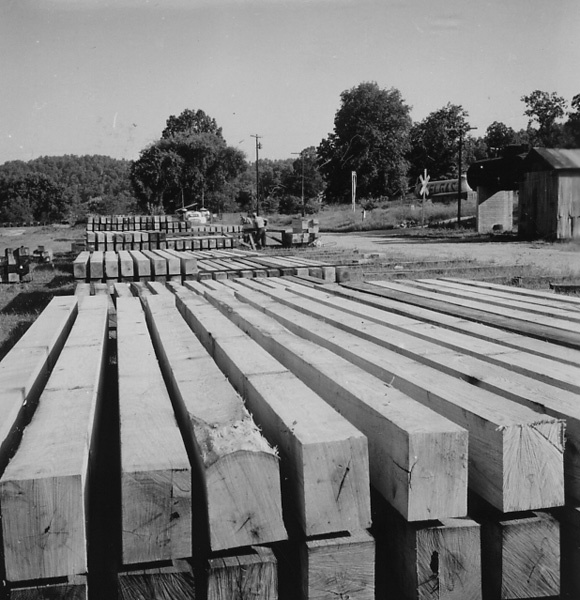 Photograph of Stacked Ties at the Nichols Stave Company Mill at Van Buron, Missouri