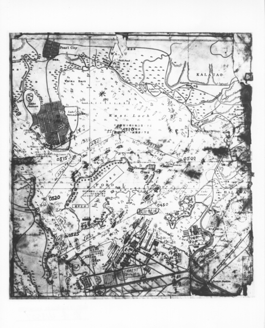 Photograph of Japanese Chart of Pearl Harbor Captured from Japanese Sub