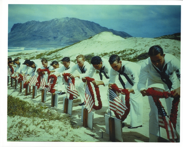 Photograph of Sailors Paying Tribute to Casualties of the Pearl Harbor Attack at a Hawaiian Islands Cemetery