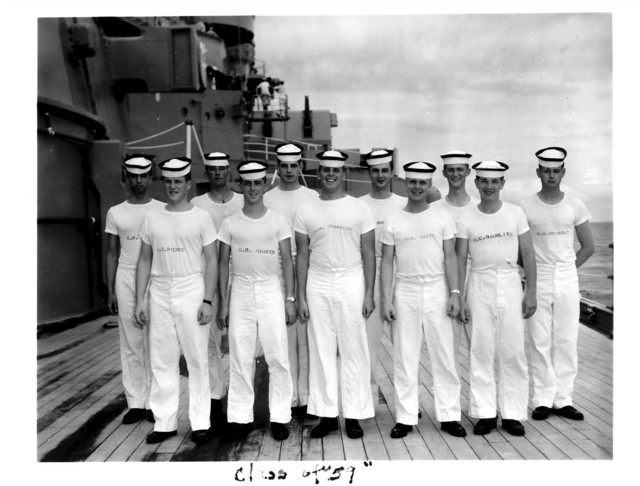 Class of 1959 Naval Reserve Officers Training Corps Cadets on Deck of a Ship