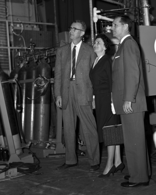 Luis Alverez (left) with unidentified individuals at Board of Regents meeting, taken March 12, 1959. Morgue 1959-17 (P-8) [Photographer: Donald Cooksey]