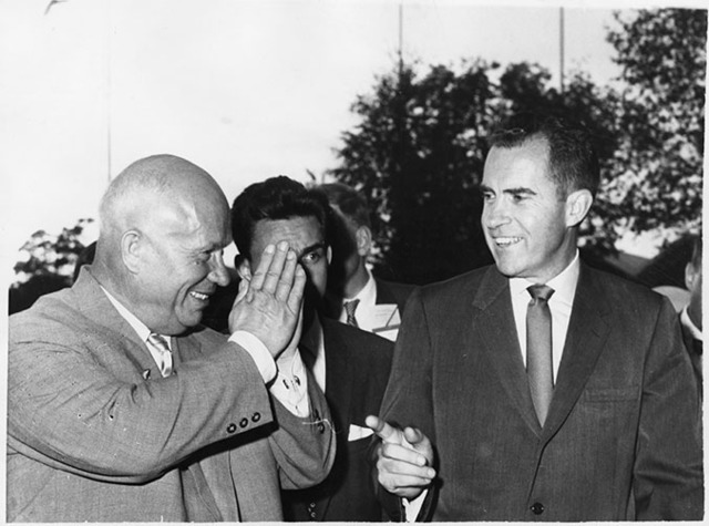 Richard Nixon and Nikita Khrushchev tour the American Exhibition at Sokolniki Park in Moscow