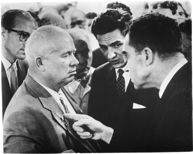 Richard Nixon points a finger towards Nikita Khrushchev to make a point during the so-called Kitchen Debate at the American Exhibition in Moscow's  Sokolniki Park