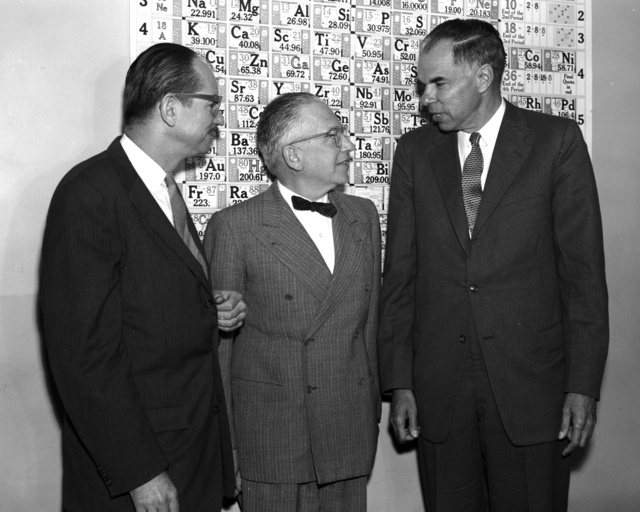 Nobel Prize press conference with (left to right): Edwin McMillan, Emilio Segre, and Glenn Seaborg, taken October 26, 1959. Morgue 1959-20 (P-14) [Photographer: Donald Cooksey]