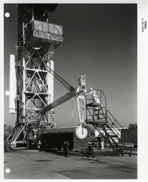 Photograph of a Rocket being Lifted onto the Launch Structure to be Prepared for Launch at the Wallops Island Launch Area in Virginia