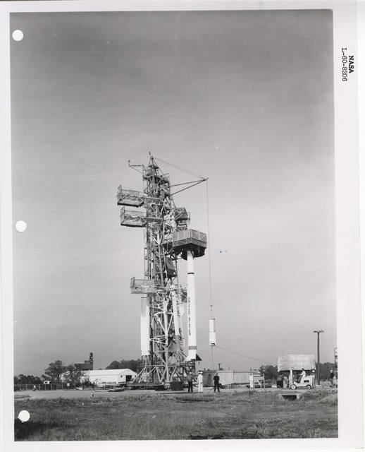 Photograph of a Rocket being Prepared for Launch at the Wallops Island Launch Area in Virginia