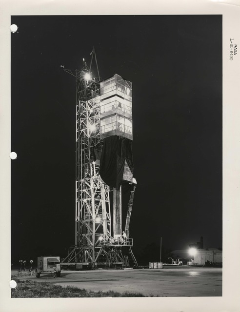 Photograph of a Rocket in the Launch Structure at the Langley Research Center in Hampton, Viriginia