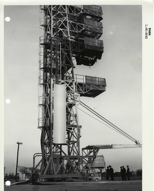Photograph of a Rocket Part being Lifted onto the Launch Structure to be Prepared for Launch at the Wallops Island Launch Area in Virginia