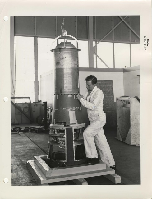 Photograph of a Scientist Working on a Rocket Part at the Langley Research Center in Hampton, Virginia