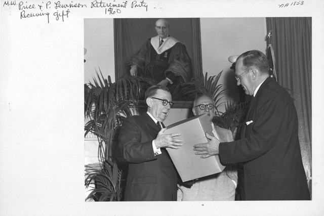 Photograph of M. W. Price and P. Lewinson Retirement Party Receiving Gift