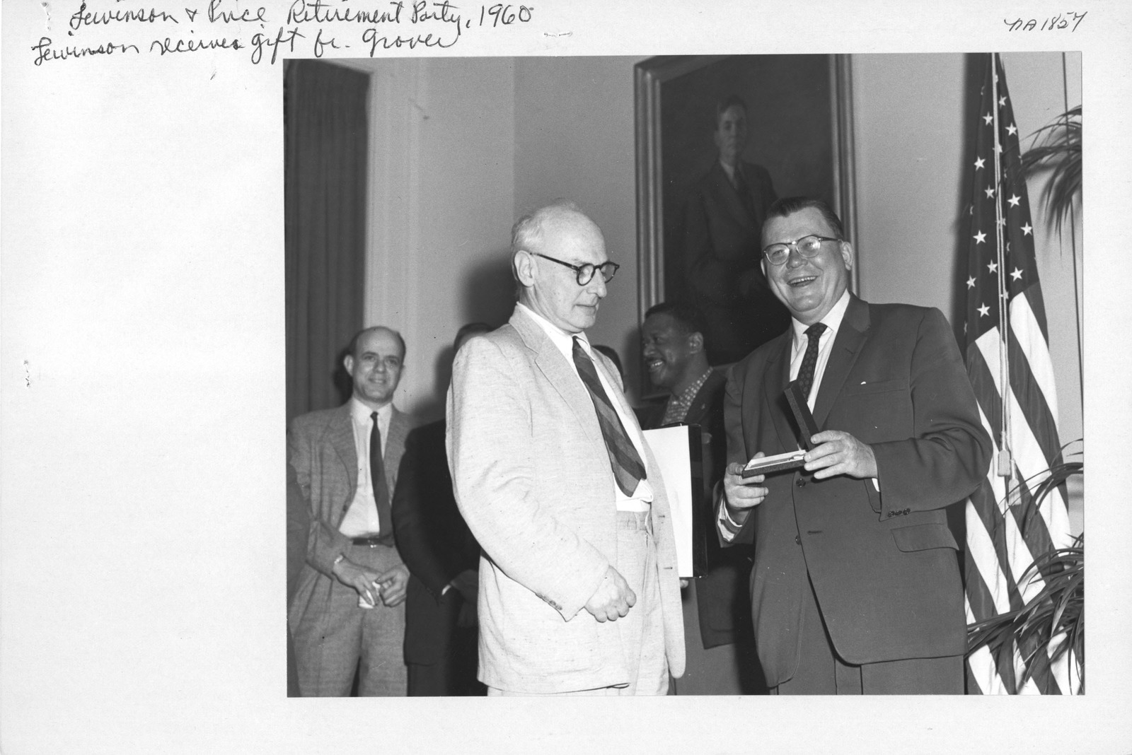Photograph of Paul Lewinson and Marcus W. Price Retirement Party
