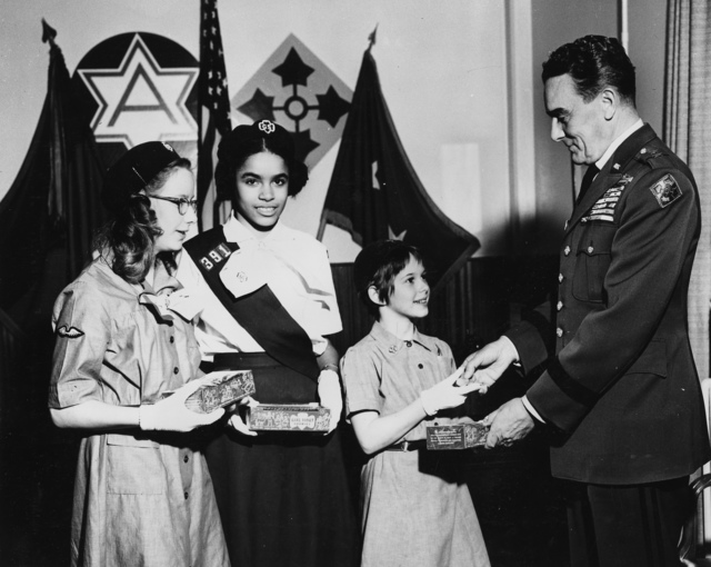 Major General Louis W. Truman Starts the Girl Scout Cookie Sale at Fort Lewis