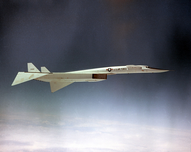 An air-to-air right side view of an XB-70 Valkyrie aircraft