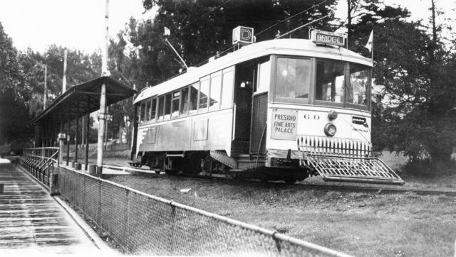 Street car at a stop enroute to the Golden Gate Bridge past the Presidio