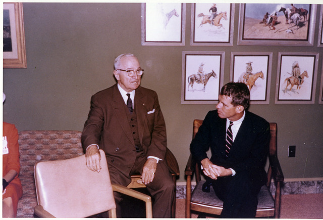 Harry S. Truman Discussing Campaign Tips with Robert Kennedy