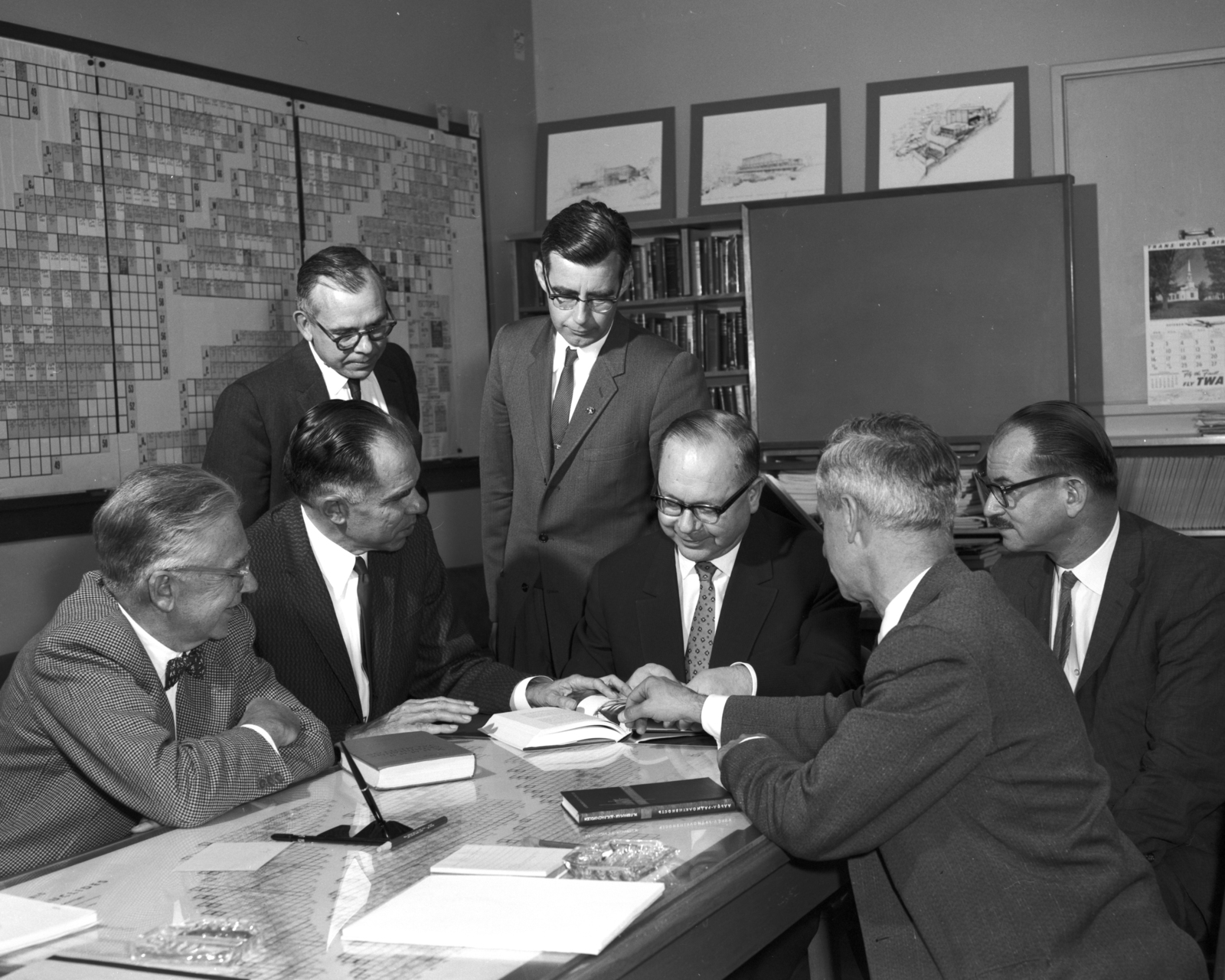 Emilio Segre, Glenn Seaborg, unknown individual, Hyde, V.I. Spitsyn ( Russian visitor), Edwin McMillan, and Isadore Perlman (head turned), taken October 20, 1960. Morgue 1960-26 (P-3) [Photographer: Donald Cooksey]