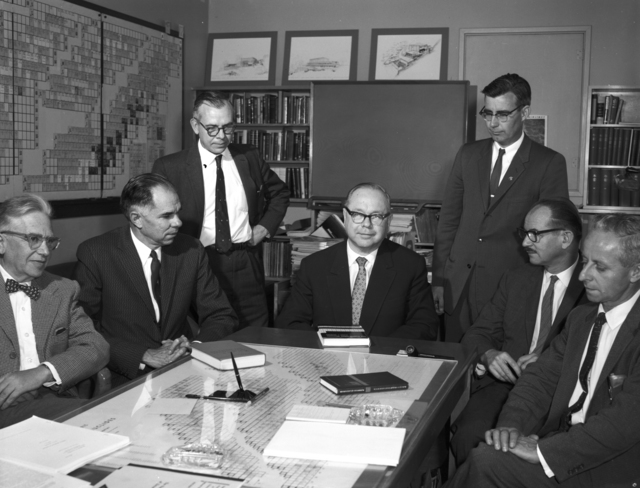 Emilio Segre, Glenn Seaborg, unknown individual, V.I. Spitsyn ( Russian visitor),. Earl Hyde, Edwin McMillan, and Isadore Perlman, taken October 20, 1960. Morgue 1960-26 (P-2) [Photographer: Donald Cooksey]