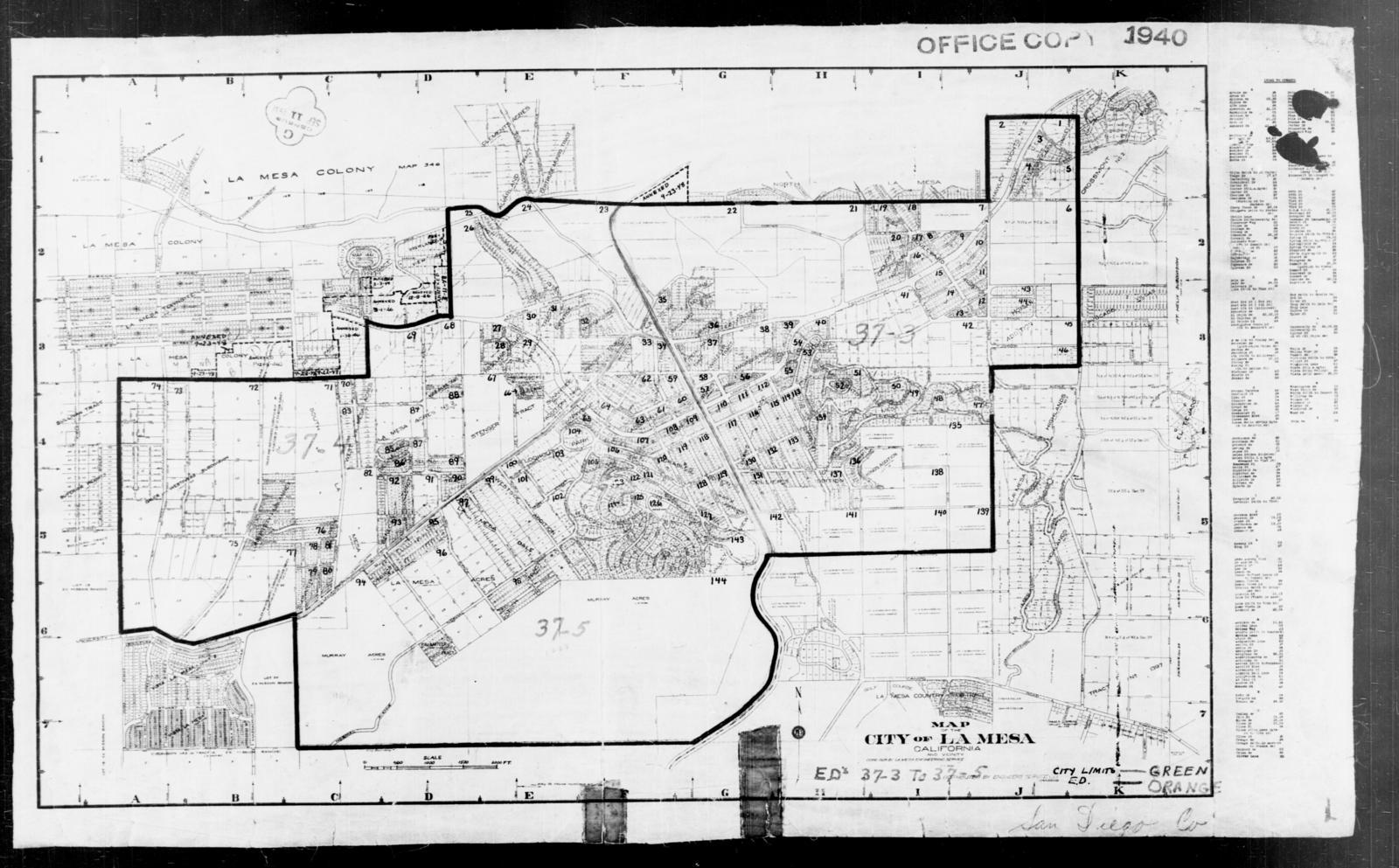 1940 Census Enumeration District Maps California San Diego