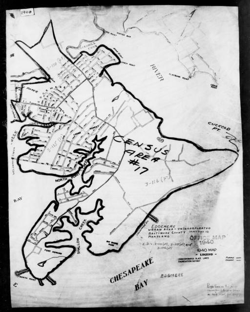 1940 Census Enumeration District Maps - Maryland - Baltimore County - Edgemere - ED 3-115, ED 3-116, ED 3-117