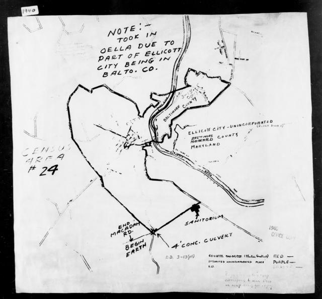 1940 Census Enumeration District Maps - Maryland - Baltimore County - Ellicott City