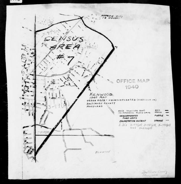 1940 Census Enumeration District Maps - Maryland - Baltimore County - Kenwood - ED 3-97C, ED 3-98, ED 3-99, ED 3-100