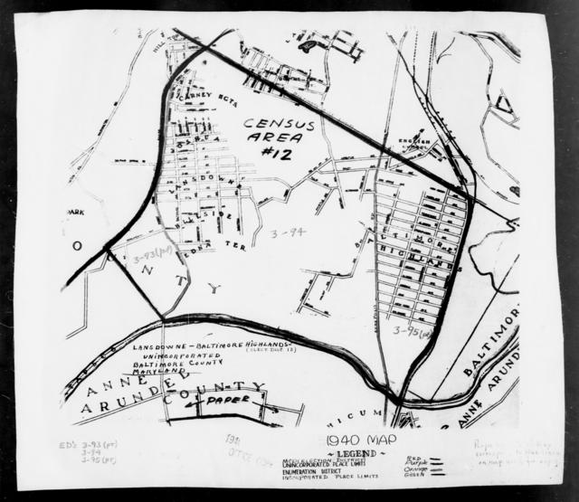 1940 Census Enumeration District Maps - Maryland - Baltimore County - Lansdowne-Baltimore Highlands - ED 3-93, ED 3-95