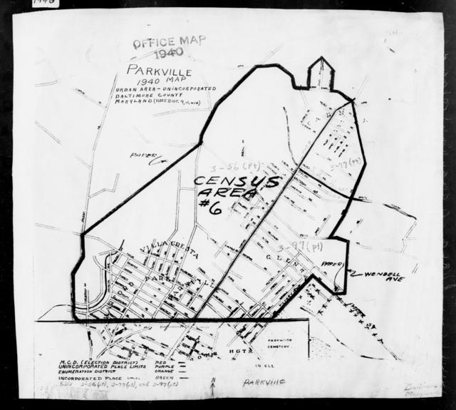 1940 Census Enumeration District Maps - Maryland - Baltimore County - Parkville - ED 3-56A, ED 3-56B, ED 3-56C, ED 3-77, ED 3-97A